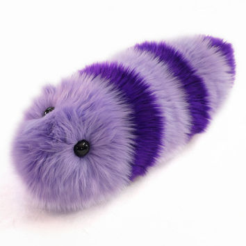 Fuzzy Caterpillar Stuffed Toy Purple and Lavender Striped Snuggle Worm Stuffed Animal