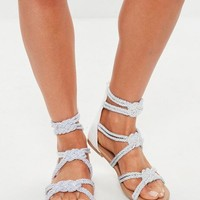 Missguided - White Multi Knot Rope Flat Sandals