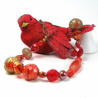 Red Beaded Christmas Statement Necklace