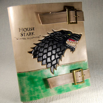Stark journal leather, Winter is coming, Game of Thrones, Leather Journal Handmade, Cosplay Journal, Personalized Journal, Gift