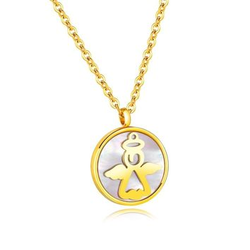 1PC Cute Round Little Angel Women's Pendant Necklace Stainlesss Steel Necklaces & Pendants Men Jewelry Love Gift Fashion Jewelry