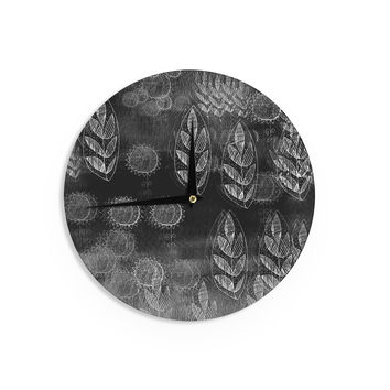 "Marianna Tankelevich ""Grey Dream"" Black Gray Wall Clock"