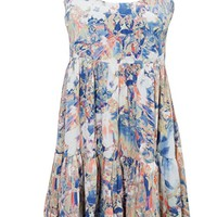 Evelyn Womens Summer Dress Blue Printed Crossback Flare Loose Casual Resort Fashion Sundress