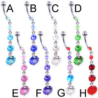 Navel ring with long 5 round gem dangle