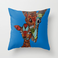 giraffe love blue Throw Pillow by Sharon Turner
