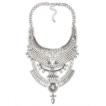 ≫∙∙Simple Crystal Jewelry Necklace Silver Statement Necklace ∙∙≪