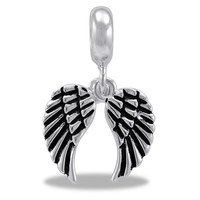 Silver Wings Dangle for Bead and Charm Bracelets and Necklaces (HH28-5)
