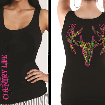 Country Life Outfitters Black & Pink Camo Realtree Deer Skull Head Hunt Vintage Bright Fitted Tank Top Shirt
