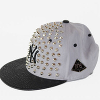 "Been Here Before ""NY""  Gray on Black  Snake Print Studded Hat - HaileyMason, LLC Store"
