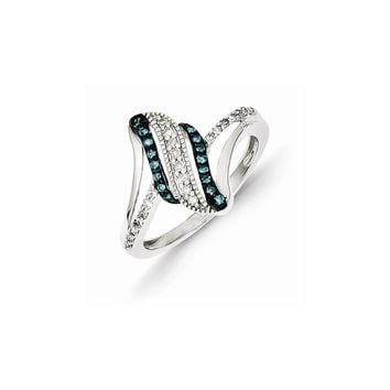 Sterling Silver Blue & White Diamond Ring