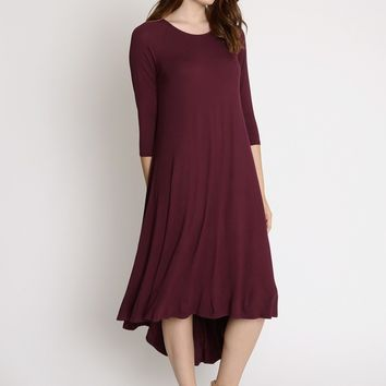 Celine High Low Trapeze Dress In Plum | Ruche