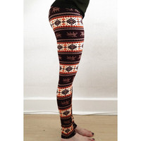 Chic Hit Color Print Stretchy Leggings For Women