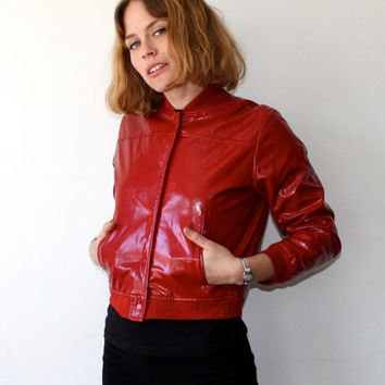 Vintage 90s Red Jacket with Glitter Trim XS Small