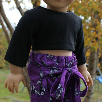 18 inch doll clothes, butterfly, Harem, dance, yoga pants with ties, black crop top, american girl, maplelea