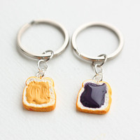 Peanut Butter and Jelly Best Friends Keychains by bookmarksnrings