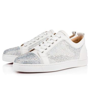 ONETOW Best Online Sale Christian Louboutin Cl Louis Junior Strass Flat Version Latte