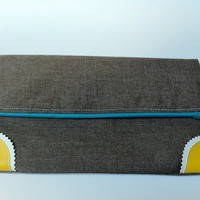 Modern Linen Fold Over Zipper Clutch