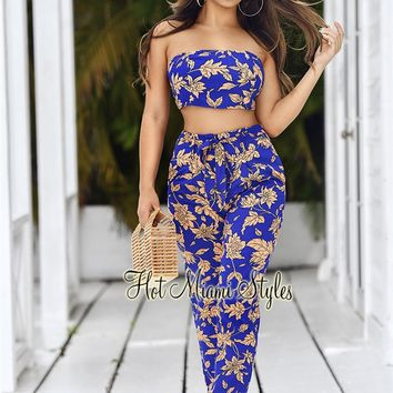 Royal Blue Peach Floral High Waist Belted Two Piece Set