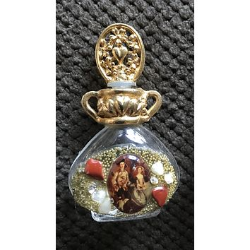 Vintage Adrian Filigree Miniature Perfume Bottle adorned w/ Stones & Image #2