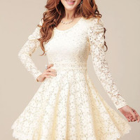 Long Sleeves Sweet Style Scoop Neck Polyester Lace Splicing Women's Dress