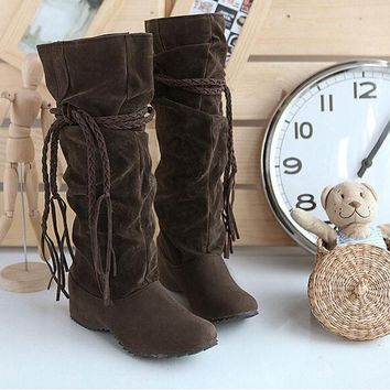 CREY7ON TASSEL SOLID COLOR FASHION BOOTS