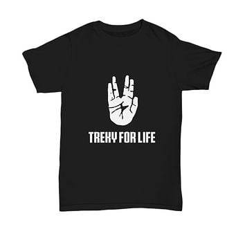 Treky For Life Hand Gesture Sci Fi TV Show T-Shirt