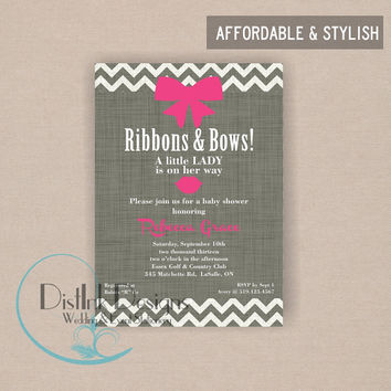 Little Lady Baby Shower Ribbons and Bows, Lips, Birthday Party Invitation - Printable Digital 5x7 Invitation File