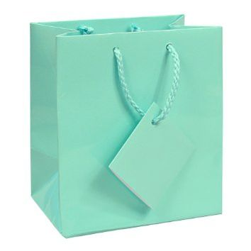 "10 pcs Small Fancy Robin's Egg Blue Glossy Finish Shopping Paper Gift Sales Tote Bags with Blank Message Tag 4"" x 2.75"" x 4.5"""