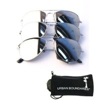 UB Mirror Lens Aviator 3-Pack w/ Drawstring Sunglass Pouches