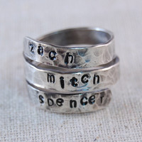 Personalized Ring Sterling Silver Mother Ring Personalized WrapRing