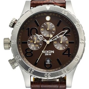 Men's Nixon 'The 48-20' Chronograph Leather Strap Watch, 48mm - Brown Gator