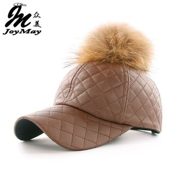 Trendy Winter Jacket JOYMAY winter PU Leather Baseball Cap with Pom Pom Biker Trucker snapback Hats For Men women  WM044 AT_92_12