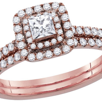 10kt Rose Gold Womens Princess Diamond Bridal Wedding Engagement Ring Band Set 3/4 Cttw 110595