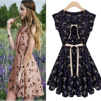 European Style Women Chiffon Sleeveless Casual Skater Sundress Pleated Mini Dress = 1955570628