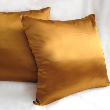 Silky Satin Bronze Pillow Covers Set. 2 Pieces. Brown Cushion Covers. Solid Color