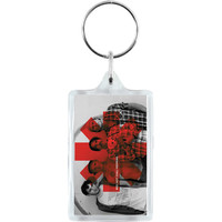 Red Hot Chili Peppers Red Asterisk Plastic Key Chain Multi