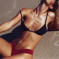 Casual Solid Strap Beach Bikini Set Swimsuit Swimwear