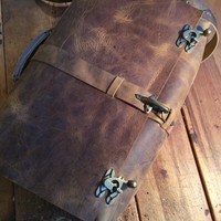 Handmade leather lap top bag, leather messenger, mens leather satchel briefcase, leather satchel bag by Aixa Sobin maker