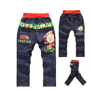 Baby Boys Clothes Cartoon Pattern Printing Clothes Kids Jeans Children Pants Summer Casual Denim Pants Baby Girls Jeans