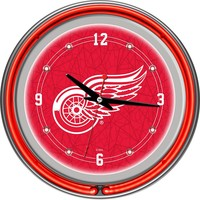 Detroit Red Wings Chrome Double-Ring Neon Wall Clock (Rdw Team)