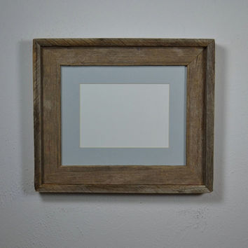 Wood photo frame 8x10 with 5x7mat and stunning natural patina
