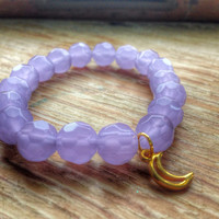 Moon Inspired Bracelet, Gold Moon, Moon Jewelry, Gemstone Jewelry: Amethyst,