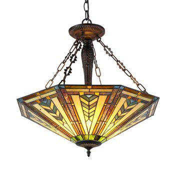 "Harrison, Tiffany-Style 3 Light Inverted Ceiling Pendant Fixture 25"" Shade"