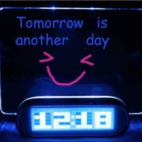 LED Fluorescent Message Board Digital Alarm Clock with 4 Port USB Hub Calendar (BLUE)