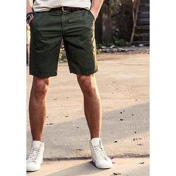 Men Shorts Cotton Casual Shorts Male New Cargo Calf-Length Short Pants
