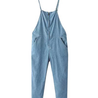 Slant Pockets Zipper Fly Denim Overall