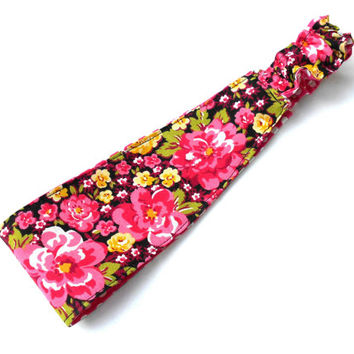 Pink Flowers and Polka Dots Reversible Headband - Black Pink Reversible Headband