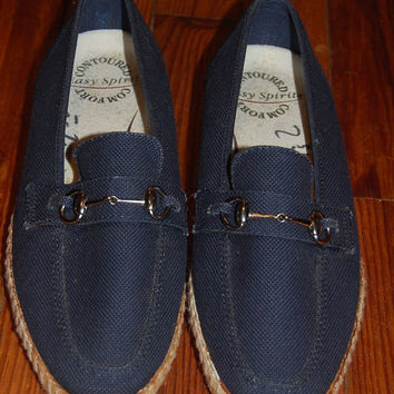 Vintage 80s Easy Spirit Grasshopper Style Navy Blue Canvas Horsebit Harness Slip Ons Espadrilles Shoes Size 7 AA