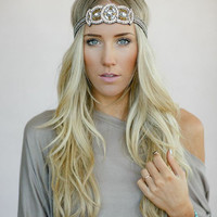 Beaded BOHO Head Piece, Beaded Headband, Bohemian, Head band, Clear/Ivory/Bronze Beads (PNM-HB-020)
