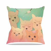 "Graphic Tabby ""Spring Alpacas"" Pastel Animals Throw Pillow"